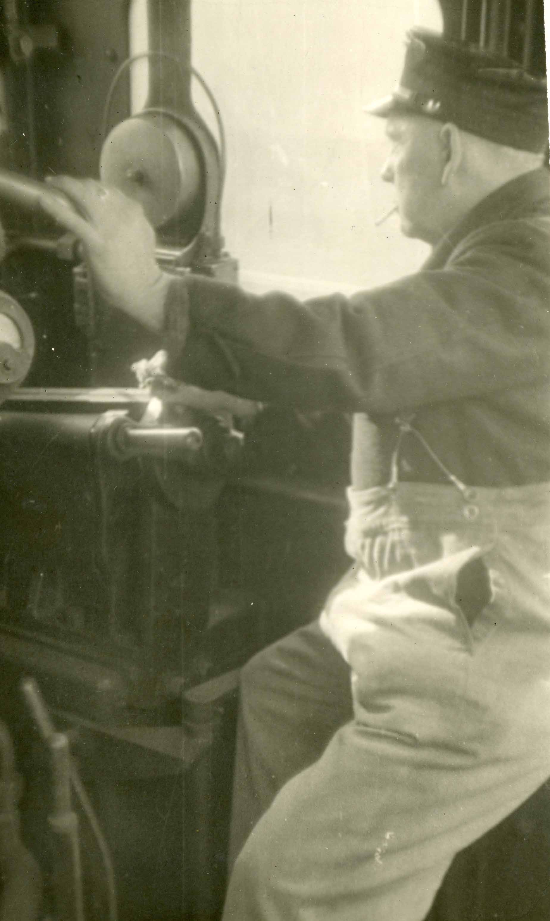 Ted Crocker on the footplate