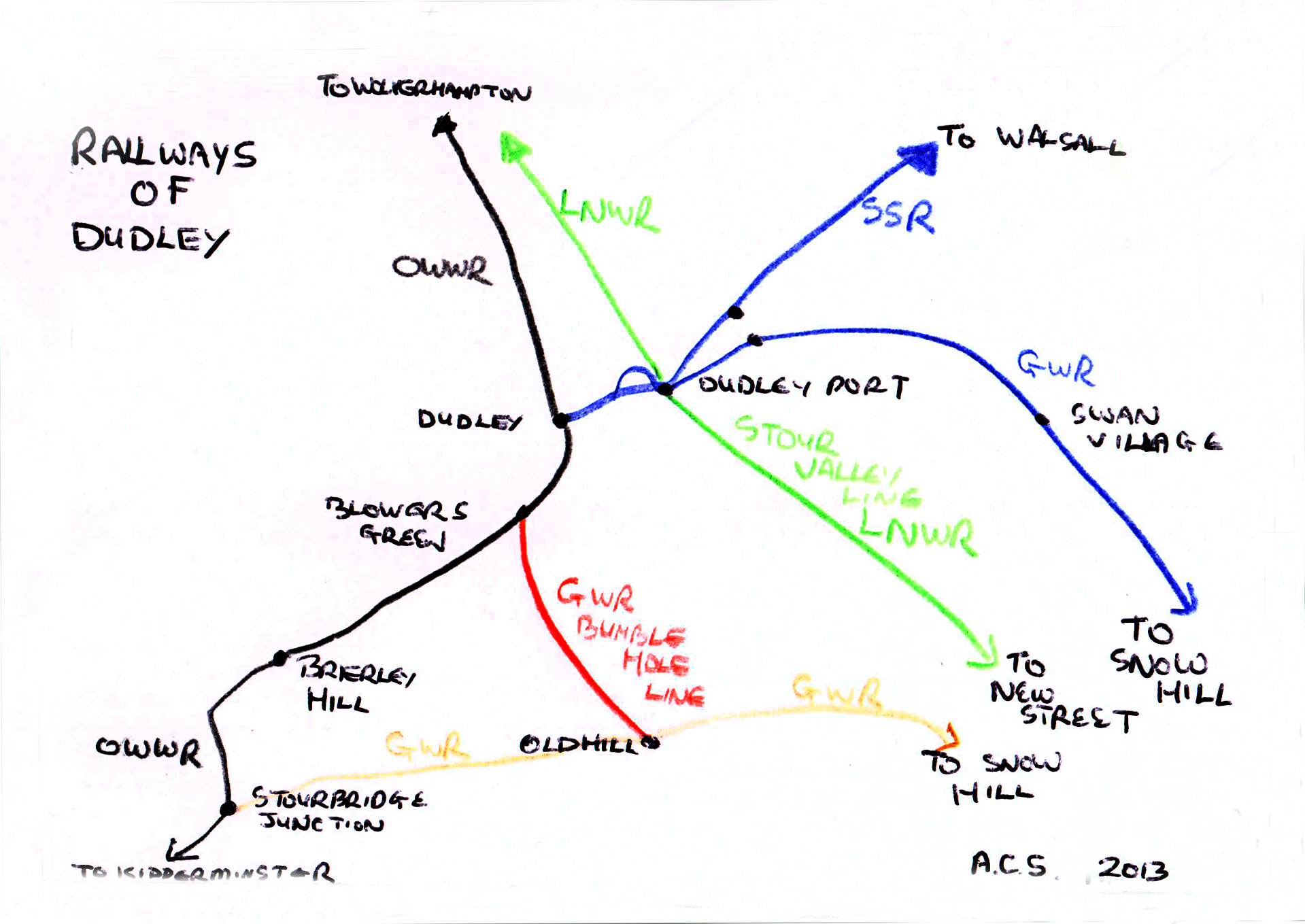 Railways of Dudley Sketch Map