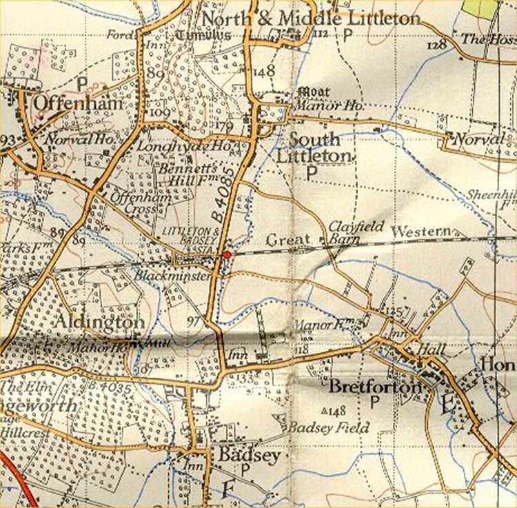 Littleton & Badsey Station 1930 OS map