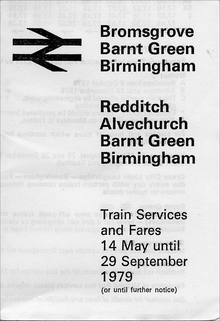 Redditch 1979 Timetable