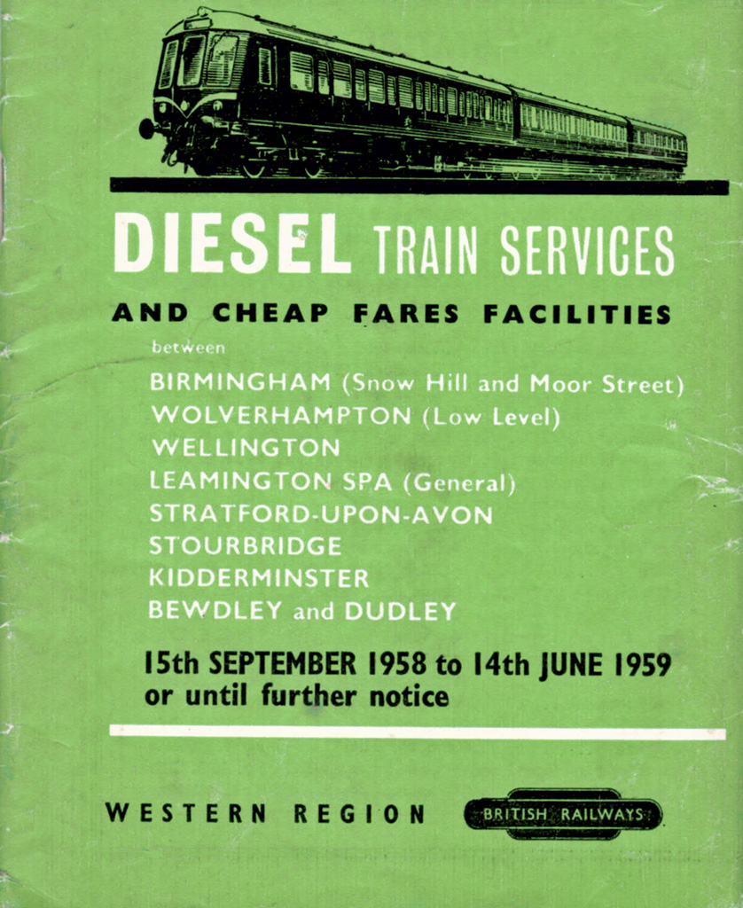 1958-9 DMU services timetable