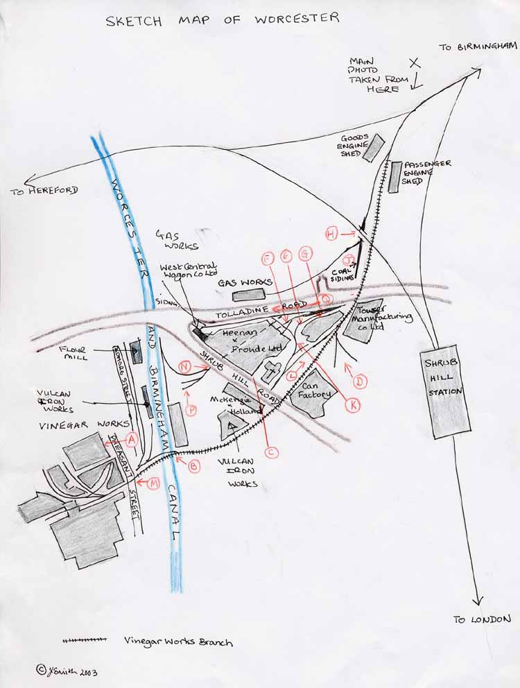 Sketch map of Vinfear Works Branch and sidings
