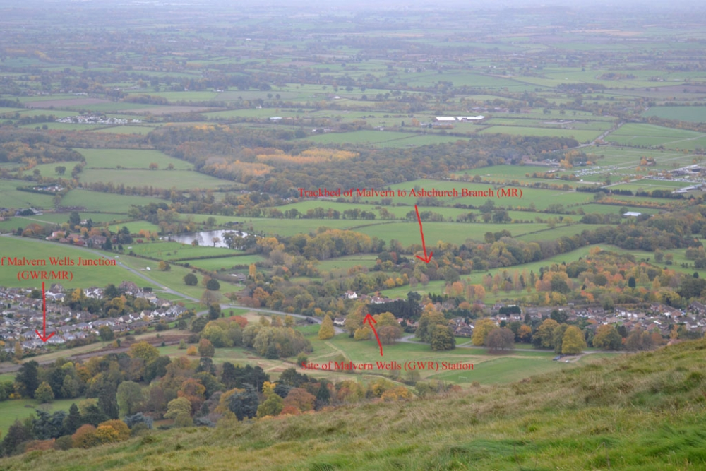 Annotated view from Malvern Hills